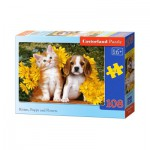 Puzzle  Castorland-010134 Kätzchen, Hündchen und Blümchen