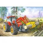 Puzzle  Castorland-06601 Wald-Traktor
