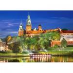 Puzzle  Castorland-103027 Wawel bei Nacht, Krakau, Polen