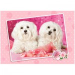 Puzzle  Castorland-13128 Zwei Hunde in Pink
