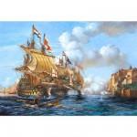 Puzzle  Castorland-200245 Seeschlacht von Porto Bello 1739
