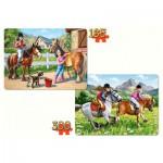 Castorland-21079 2 Puzzles - Zu Pferd