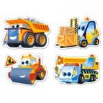 Castorland-B-005024 4 Puzzles mit extragroßen Teilen - Baufahrzeuge