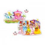 Castorland-B-020034 2 Formpuzzles - Der Ball der Prinzessinnen