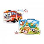 Castorland-B-020058 2 Formpuzzles - Die Feuerwehr im Einsatz