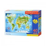 Castorland-B-040117 Extragroße Puzzleteile - Weltkarte