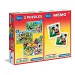Clementoni-07808 3 Puzzles + Memo - Mickey