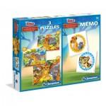 Clementoni-07810 3 Puzzles + Memo - The Lion Guard