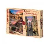 Clementoni-08007 3 Puzzles - Dominic Davison: Romantic Italy