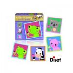 Diset-69956 4 Puzzles Natur - Frosch, Zebra, Schwein und Bär