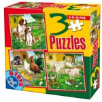 Dtoys-60150-AL-01 Puzzle 6,9 und 16 Teile: Hunde, Hähne, Hühner, Schafe und Kaninchen
