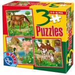 Dtoys-60150-AL-02 Puzzle 6,9 und 16 Teile: Pferde, Kühe, Schweine, Enten