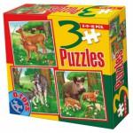Dtoys-60150-AL-03 Puzzle 6,9 und 16 Teile: Wölfe, Rehe und Wildschweine