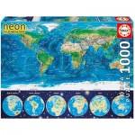 Educa-16760 Neon Puzzle - World Map