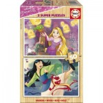 Educa-17165 2 Holzpuzzles - Disney Princess