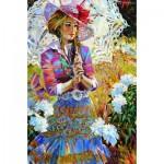 Puzzle  Gold-Puzzle-61215 Frau mit Sonnenschirm