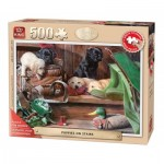 Puzzle  King-Puzzle-05533 XXL Teile - Puppies on Stairs
