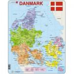 Larsen-A6 Rahmenpuzzle - Karte von Dänemark (auf Dänisch)