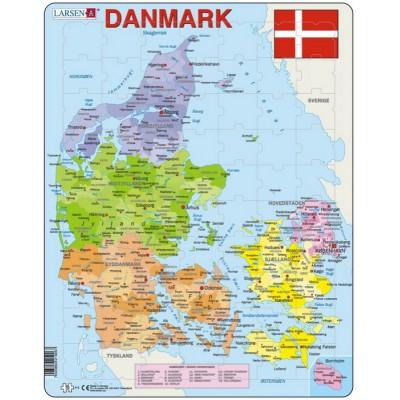 Rahmenpuzzle Karte Von Danemark Auf Danisch Larsen A6 Dk 70