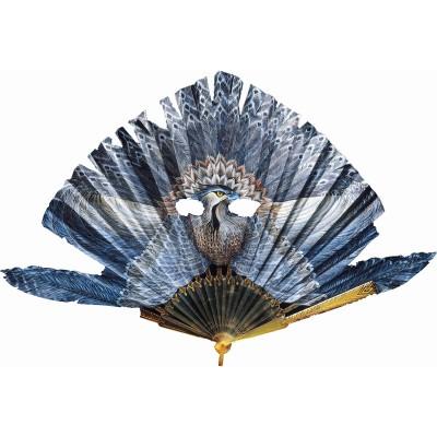 Puzzle aus handgefertigten Holzteilen - Fächer: Blauer Vogel Puzzle ...