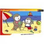 Nathan-86096 Puzzle 15 Teile Rahmenpuzzle - T'Choupi: T'Choupi am Strand