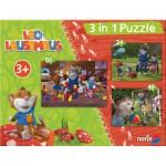 Noris-6060-31427 3 Puzzles - Leo Lausemaus