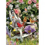 Puzzle  Cobble-Hill-51786 Sommervögel auf dem Gartenstuhl