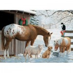 Puzzle  Cobble-Hill-54604 XXL Teile - Familly - Winter Barnyard