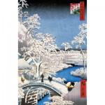Puzzle-Michele-Wilson-A566-250 Puzzle aus handgefertigten Holzteilen - Hiroshige: Brücke in Meguro