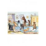 Puzzle-Michele-Wilson-W148-100 Puzzle aus handgefertigten Holzteilen - Louis Wain: Frühjarsputz