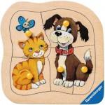 Ravensburger-03233 Holzpuzzle - Hund und Katze