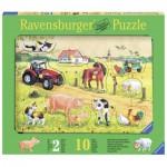 Ravensburger-03672 Holzpuzzle - Kunterbunter Bauernhof