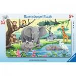 Ravensburger-06136 Rahmenpuzzle - Tiere Afrikas