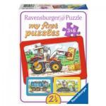 Ravensburger-06573 3 Puzzles - My First Puzzle - Bagger, Traktor und Kipplader