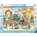 Ravensburger-06584 Rahmenpuzzle - Fleißige Bauarbeiter