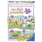 Ravensburger-06951 4 Puzzles - Niedliche Haustiere