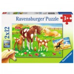 Ravensburger-07561 2 Puzzles - Wehende Mähnen
