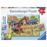 Ravensburger-07589 2 Puzzles - Hausbau auf der Baustelle