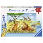 Ravensburger-07606 2 Puzzles - Elefant, Löwe & Co.