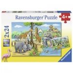 Ravensburger-07806 2 Puzzles - Willkommen im Zoo