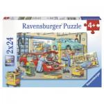 Ravensburger-08855 2 Puzzles - Autowerkstatt und Tankstelle