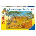 Ravensburger-09040 2 Puzzles - In der Wildnis