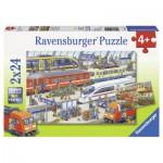 Ravensburger-09191 2 Puzzles - Trubel am Bahnhof
