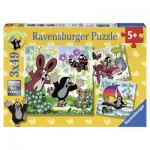 Ravensburger-09209 3 Puzzles - Unterwegs mit dem Maulwurf
