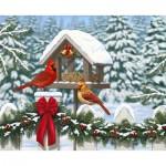 Puzzle  Ravensburger-13582 XXL Teile - Cardinals at Christmas