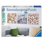 Ravensburger-19920 3 Puzzles - Maritime Eindrücke