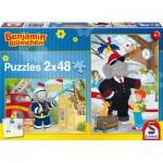 Schmidt-Spiele-56097 2 Puzzles - Benjamin Blümchen, Immer im Einsatz