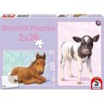 Puzzle  Schmidt-Spiele-56100 Fohlen und Kälbchen
