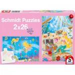 Schmidt-Spiele-56113 2 Puzzles: Die hübsche Meerjungfrau