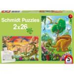 Schmidt-Spiele-56119 2 Puzzles: Unsere Freunde, die Dinosaurier